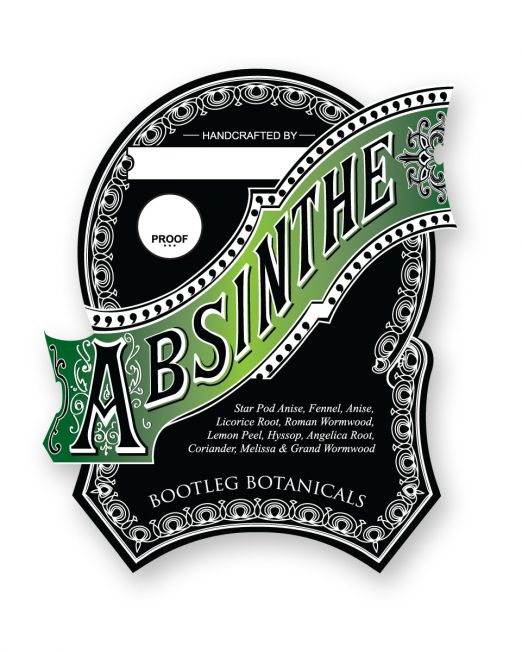 Bootleg Botanicals Vintage Inspired Absinthe Bottle Label